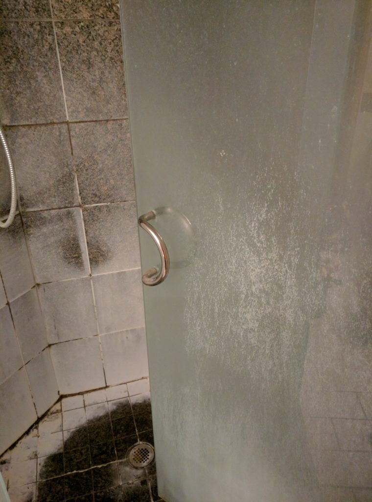 how to clean glass shower doors - how to clean shower doors - before image 1