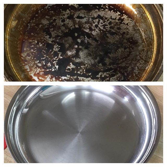 Burnt Pan cleaned with Bar Keepers Friend