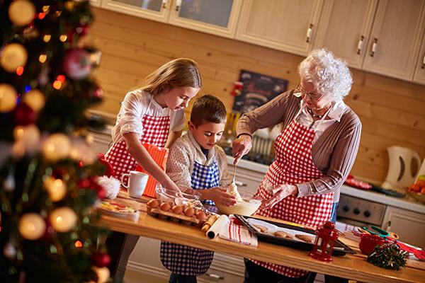 Grandma and grandkids baking