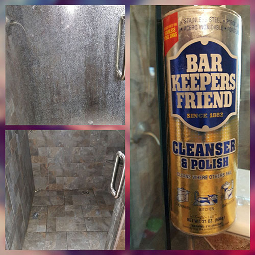 Glass Shower Door With Hard Water Stains Cleaned With Bar Keepers