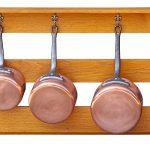Copper pots hanging