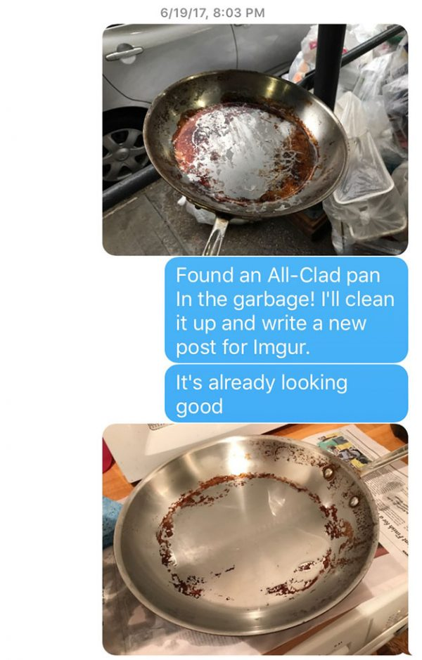 Text message between Sandy and his daughter about BKF cleaning All-Clad pan