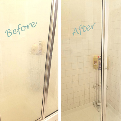 Bar Keepers Friend removes hard water stains from shower doors