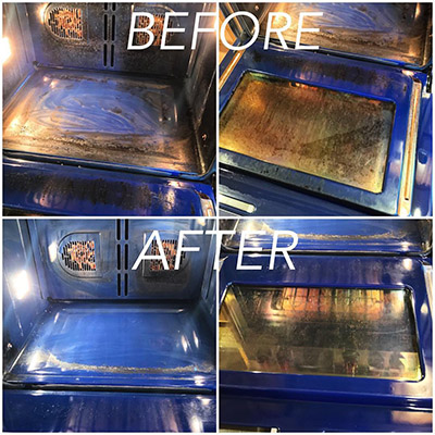 Bar Keepers Friend cleans oven doors and racks