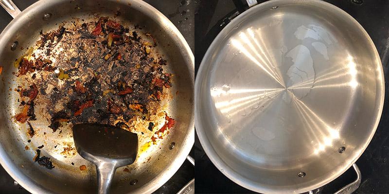 DrTylerMoore burnt pan cleaned with Bar Keepers Friend | BKFBeforeAndAfter