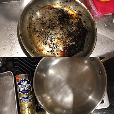 The Chowdery burnt pan cleaned with Bar Keepers Friend | BKFBeforeAndAfter