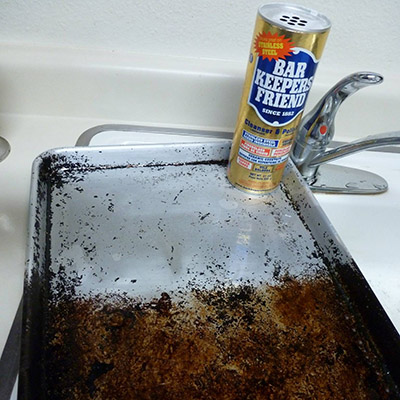 Bar Keepers Friend cleans burned cookie sheets