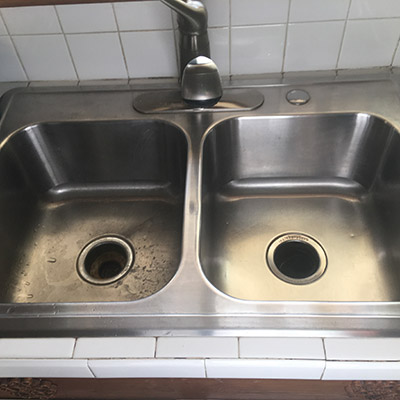Stainless Steel Sink cleaned with Bar Keepers Friend | BKFBeforeAndAfter