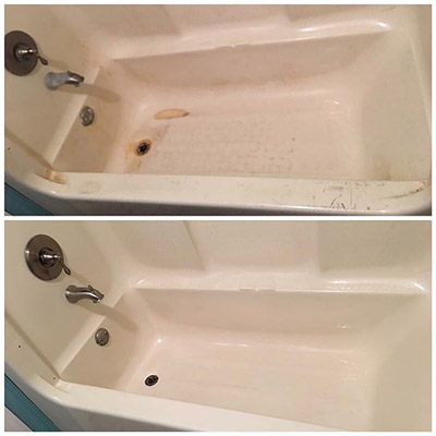 Bar Keepers Friend cleans rust from bathtubs