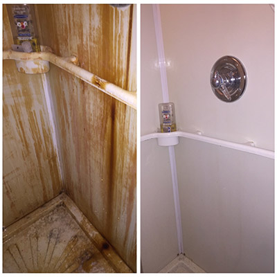 Bar Keepers Friend cleans rust from showers