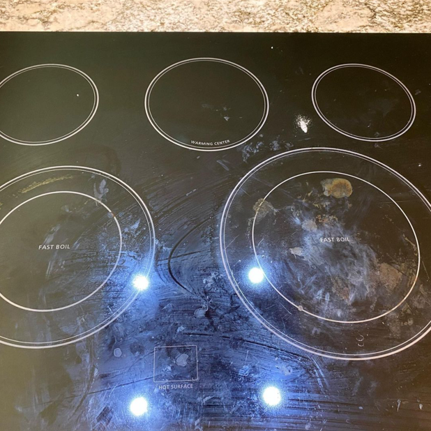 How to Clean a Glass Cooktop - TX House Cleaning - Before Photo
